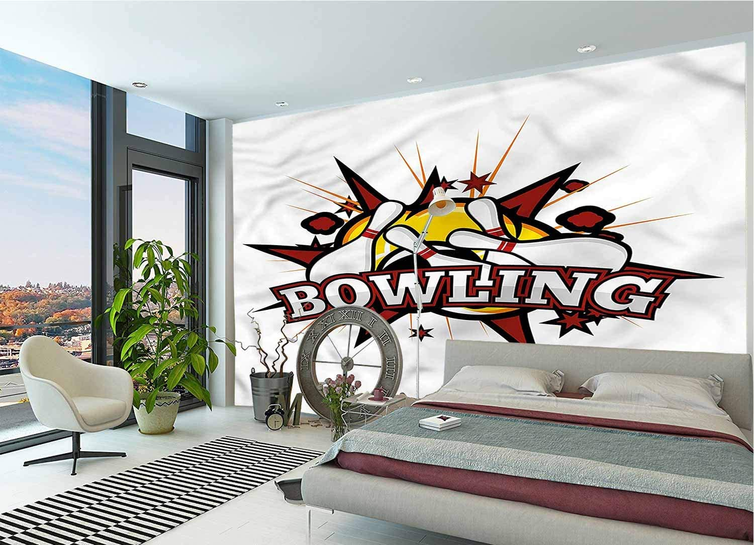 Bowling Party DIY Wall Murals,Cartoon Retro Crash Self-Adhesive Wallpaper for Living Room Bedroom Office Decoration-78x55 Inch