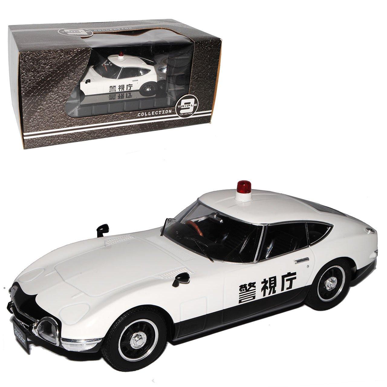 PremiumX Toyota 2000 GT Coupe Weiss Japan Police Polizei 1967-1970 Triple 9 1/18 Modell Auto mit individiuellem Wunschkennzeichen