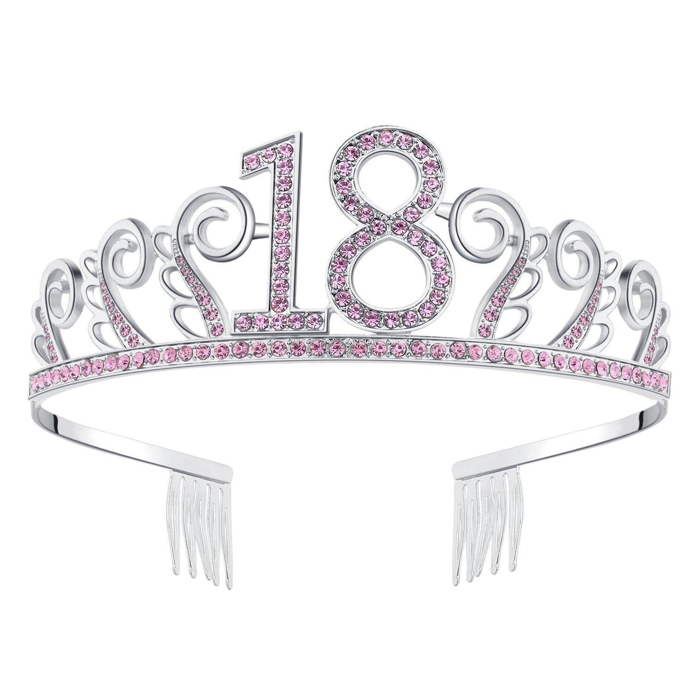 Gold-100th BABEYOND Crystal Birthday Tiara Rhinestone Princess Crown Happy Birthday Crowns Silver Diamante Happy 18//20//21//30//40//50//60//90th Birthday