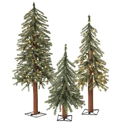 GER Set of 3 Lighted Christmas Pine Trees with Wood Trunks- 2 Foot, 3 - Amazon.com: GER Set Of 3 Lighted Christmas Pine Trees With Wood