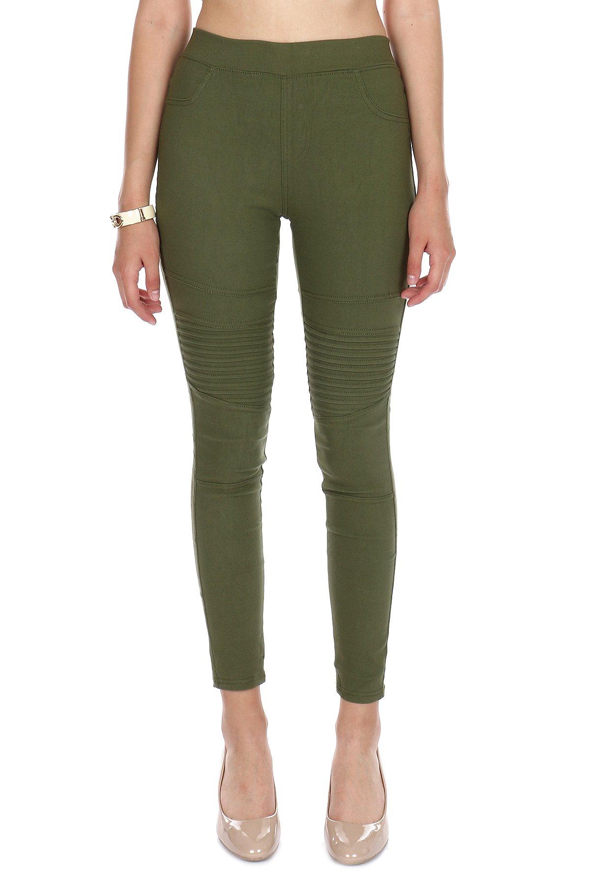 Women's Premium Mid-Rise Moto Style Jeggings- Stretch Denim Feel Leggings (Olive, XS/Small)