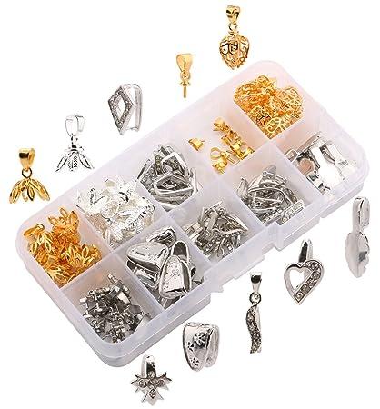 Amazon sdootjewelry 100 pcs pendant bails glue on bails for sdootjewelry 100 pcs pendant bails glue on bails for jewelry making diy clip pinch bails jewelry aloadofball Gallery