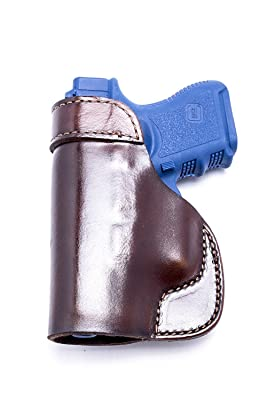 OutBags USA LS2G26 (BROWN-RIGHT) Full Grain Heavy Leather IWB Conceal Carry Gun Holster for Glock 26 G26 9mm/Glock 27 G27 .40/Glock 33 G33 .357/Glock 39 G39...