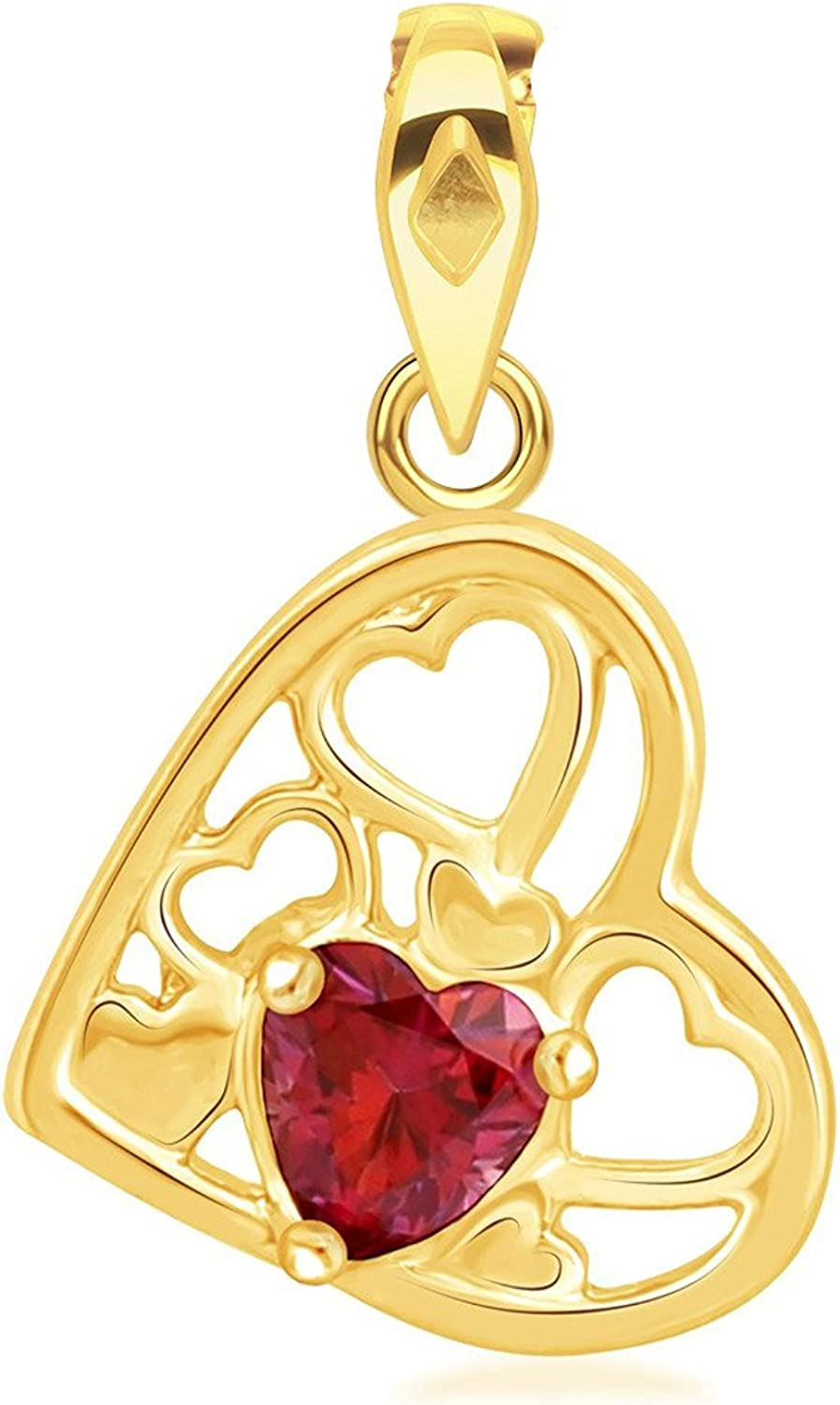 Ashley Jewels Simulated Pink Ruby Studded Fashion Love Promise Heart Pendant Necklace in 14K White Gold Plated With Box Chain
