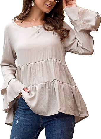 Mujeres Casual Túnica Remeras Camisas Manga Larga Volantes Otono Camiseta Blusa: Amazon.es: Ropa y accesorios