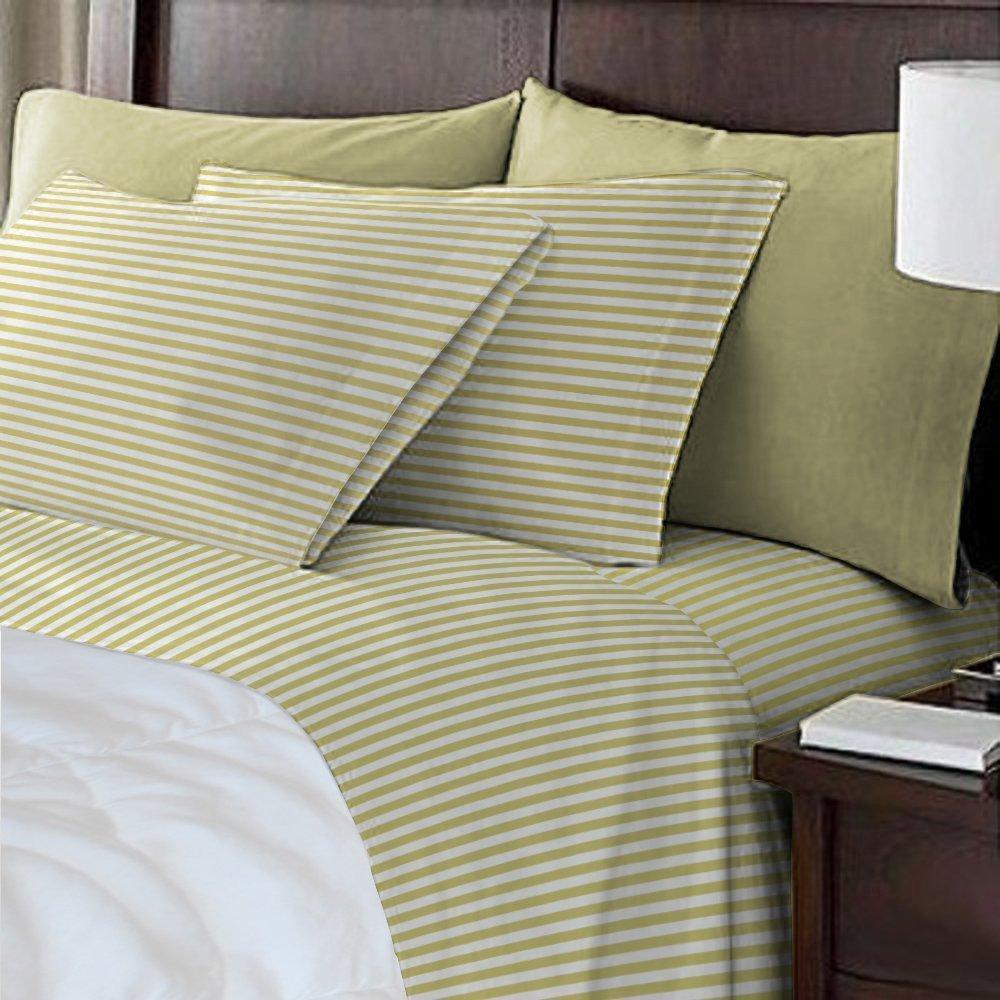 Virah Bella Debra Valencia Awning Striped Sheets by Duke-Full Size-Black//White-6 Pc Set 2 Bonus Pillowcases!