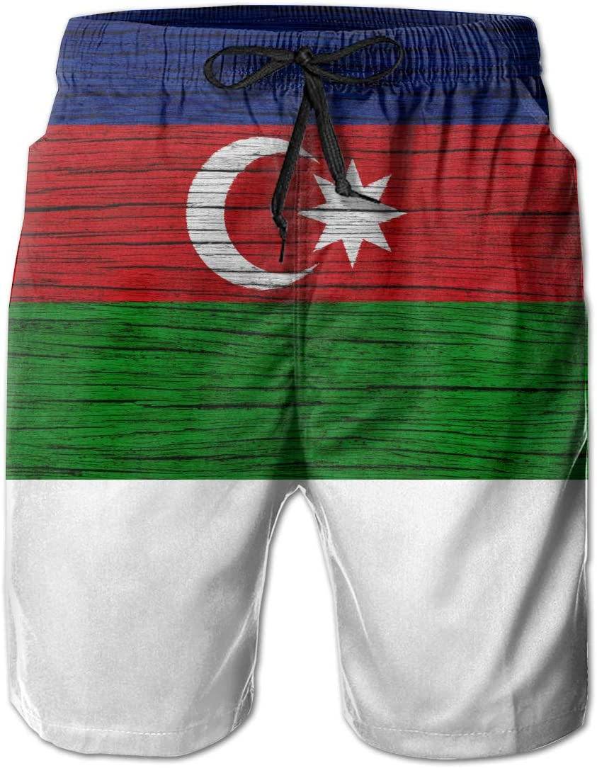 HFSST Wooden Texture Azerbaijani Flag Men Kid Male Summer Swimming Pockets Trunks Beachwear Asual Shorts Pants Mesh