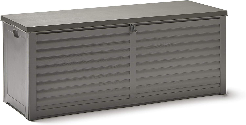 KitGarden - Arcón Multiusos de Exterior, Capacidad 490L, 146,5x61x64,5cm, Gris, Multi Storage Box 490L