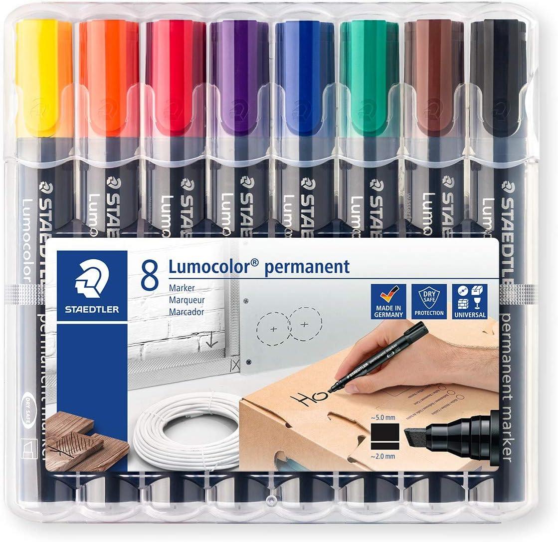 Staedtler Lumocolor 350 WP8. Rotuladores permanentes con punta biselada. Estuche con 8 marcadores de colores variados.
