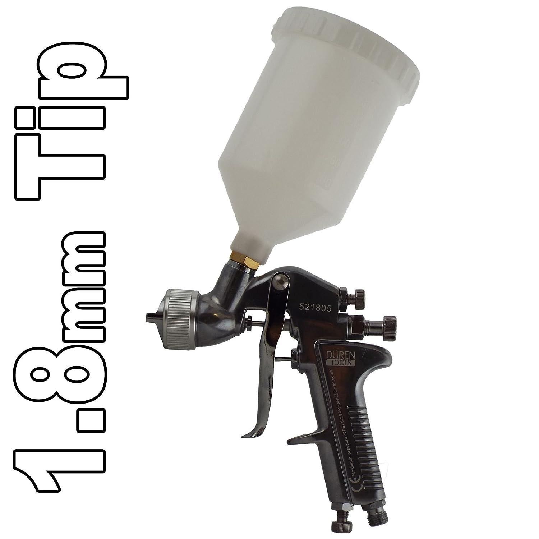 Duren 521805 Chrome Spraygun 1.8mm Tip for Primer Basecoat Spray Adheasives Max Working Pressure (Gun) 98PSI/6.8BAR Air Consumption 6.9-8.9CFM Air Inlet 1/4' Cup Size 600ml Weight 730g Duren Tools