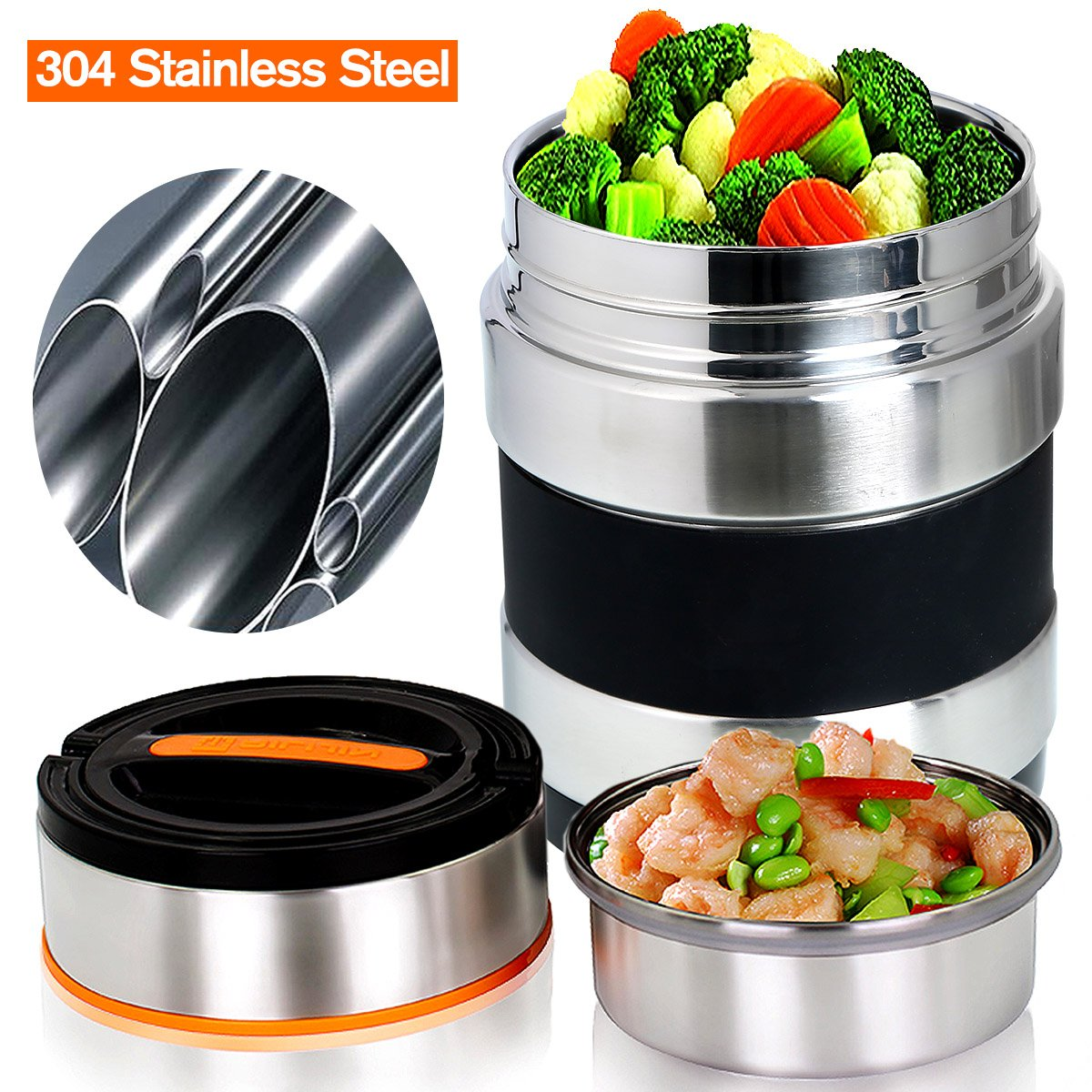 vacuum insulated lunch box keep food warm lunch containers stainless steel bento ebay. Black Bedroom Furniture Sets. Home Design Ideas