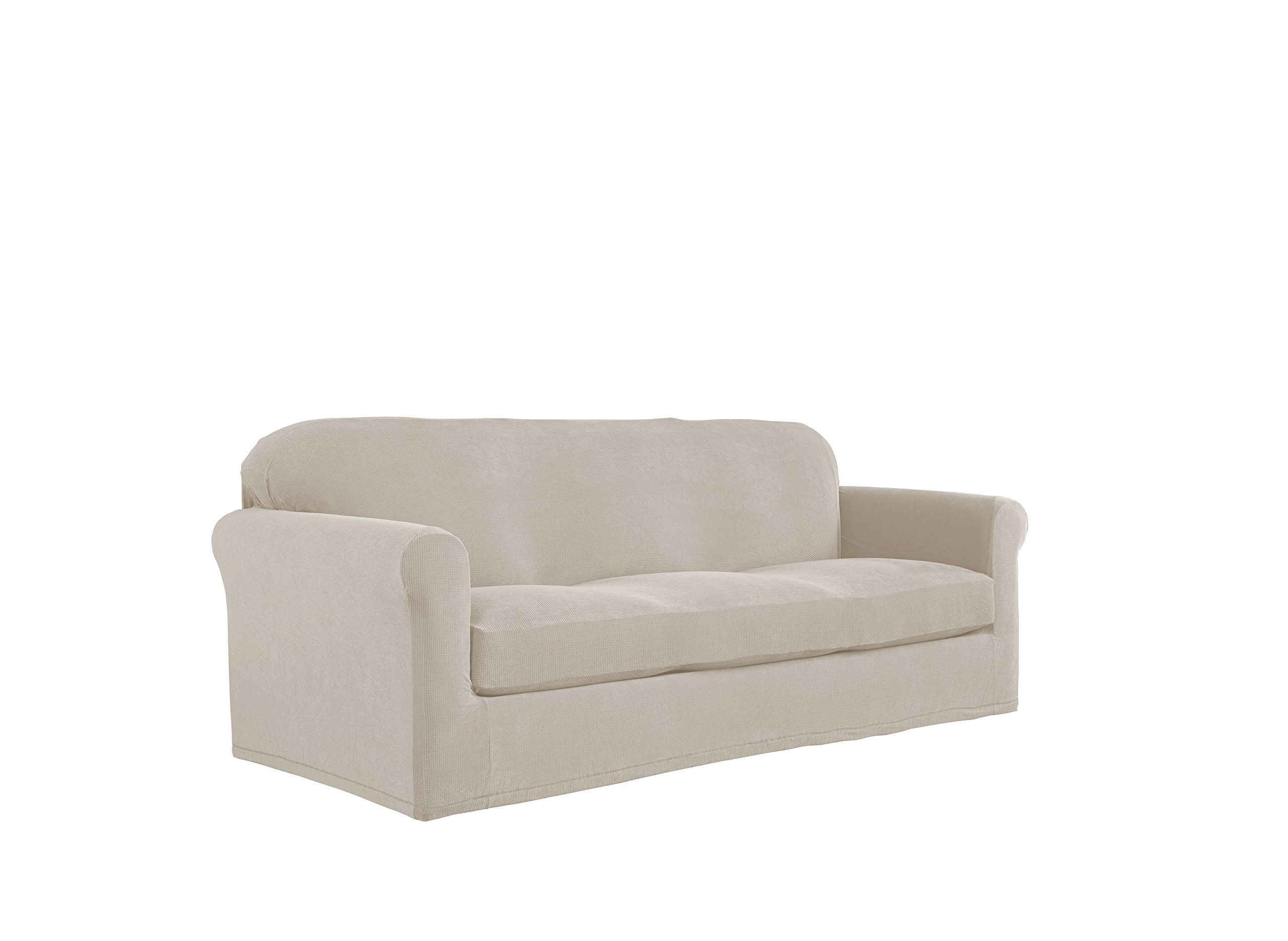Serta 2 Piece Stretch Grid Box Sofa Slipcover, Putty
