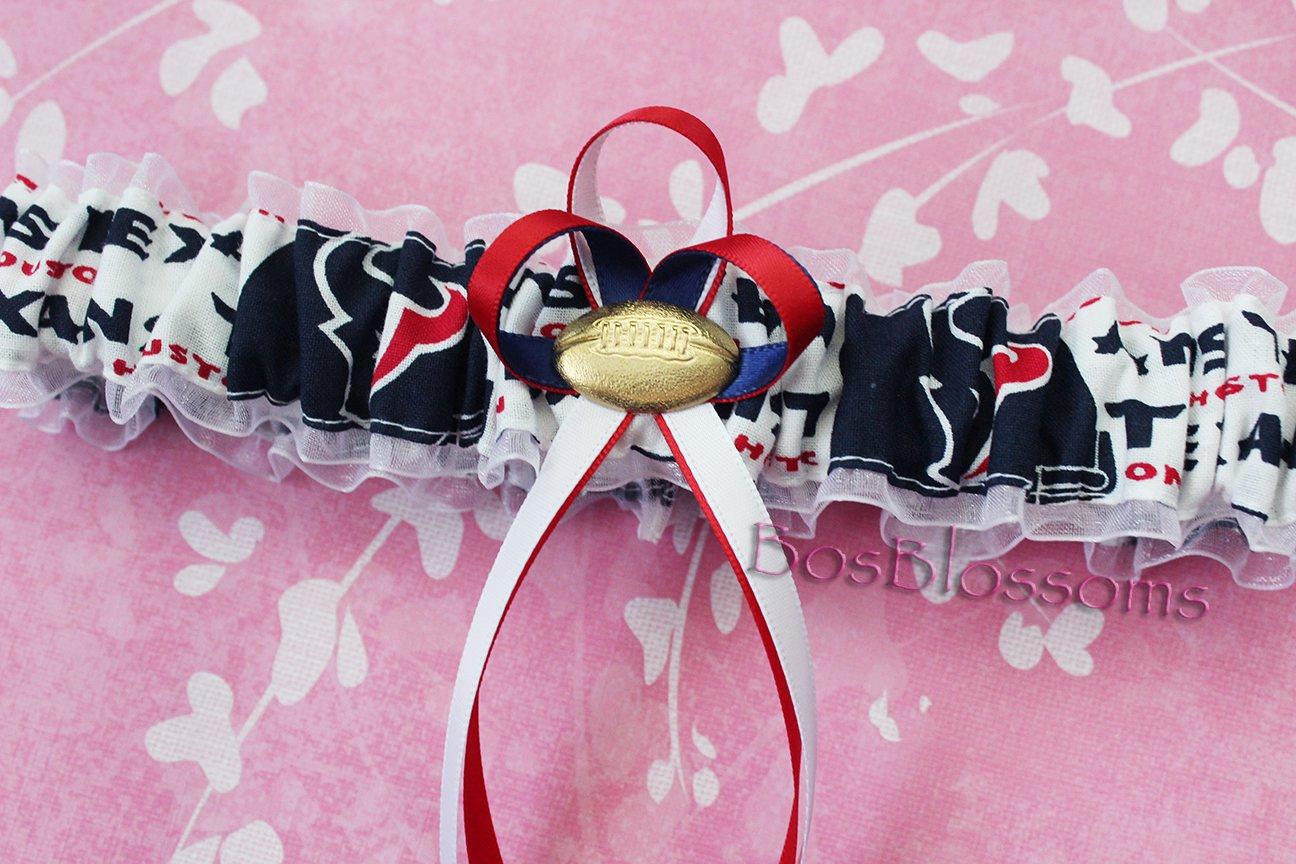 Houston Texans fabric handmade into bridal prom white organza wedding garter set with football charm Customizable
