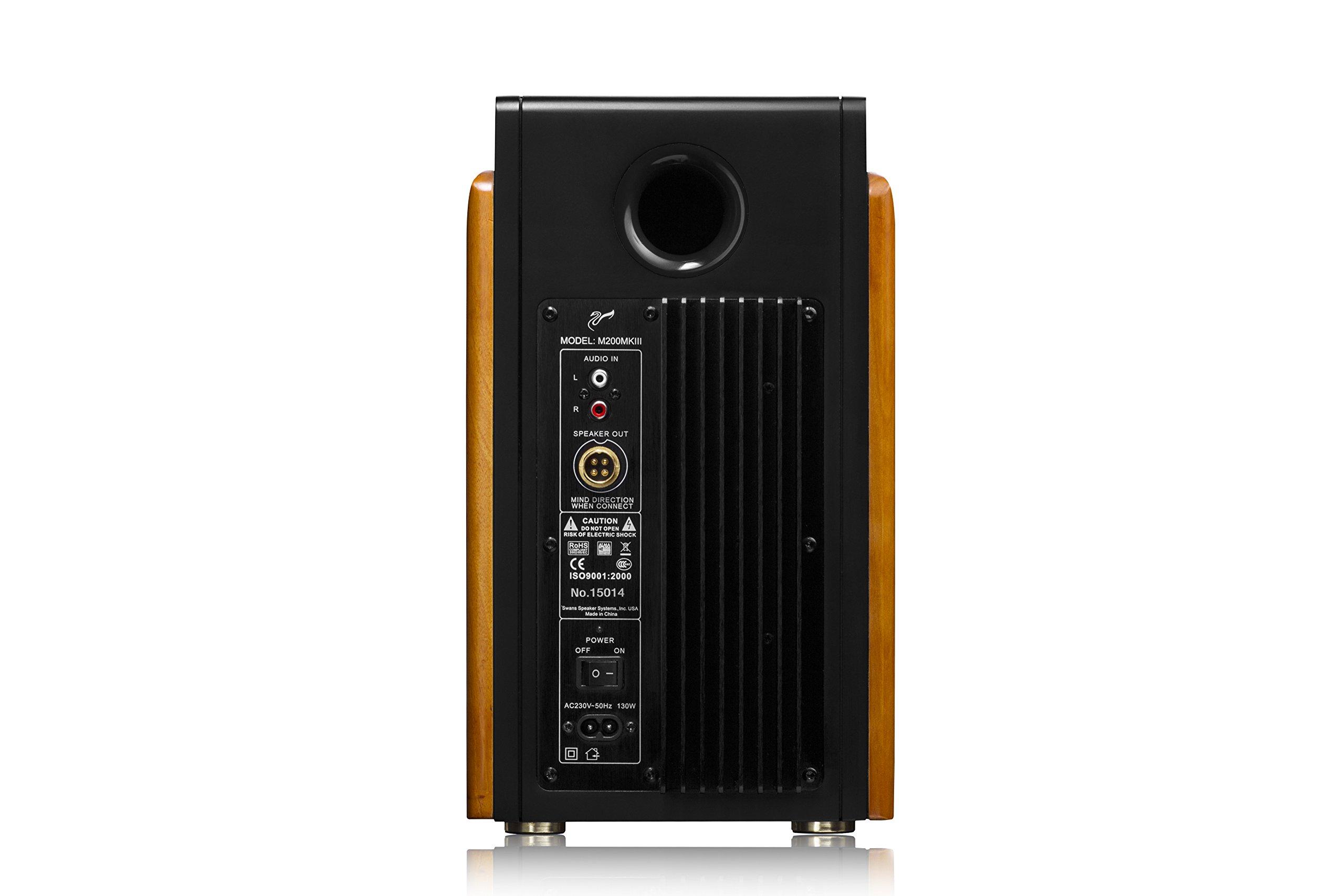 Swan Speakers - M200MKIII - Powered 2.0 Bookshelf Speakers - HiFi speakers - 1'' Dome Tweeters - 5.25'' Long-Throw Woofers - Solid Wood Cabinet - CES Award Winner  - 120W RMS by Swan Speakers