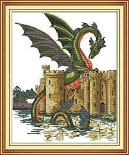 CaptainCrafts Hot New Cross Stitch Kits Needlecrafts Patterns Counted Embroidery Kit Mushrooms Dinosaur STAMPED