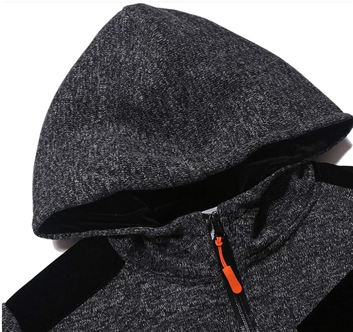 Pivaconis Mens Hooded Classical Contrast Coat Knitted Slim Fit Spliced Sweatshirts