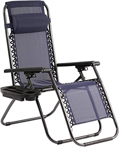 BestMassage Zero Gravity Chairs Lounge Patio Chaise 1 Pack Adjustable Reliners for Pool Yard with Cup Holder, Blue