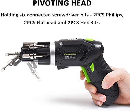 Rechargeable Electric Screwdriver with LED Light TOOITOOL 4V Max Cordless Pivoting Screwdriver Kit 9-Piece Bit Set 2-Position Handle