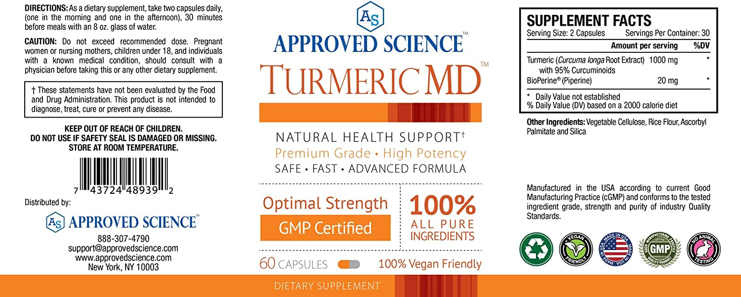 Turmeric MD – with BioPerine 95 Standardized Turmeric Curcuminoids – Natural Anti-Inflammatory, Antioxidant, Pain Relief and Antidepressant – 180 Capsules 3 Months Supply