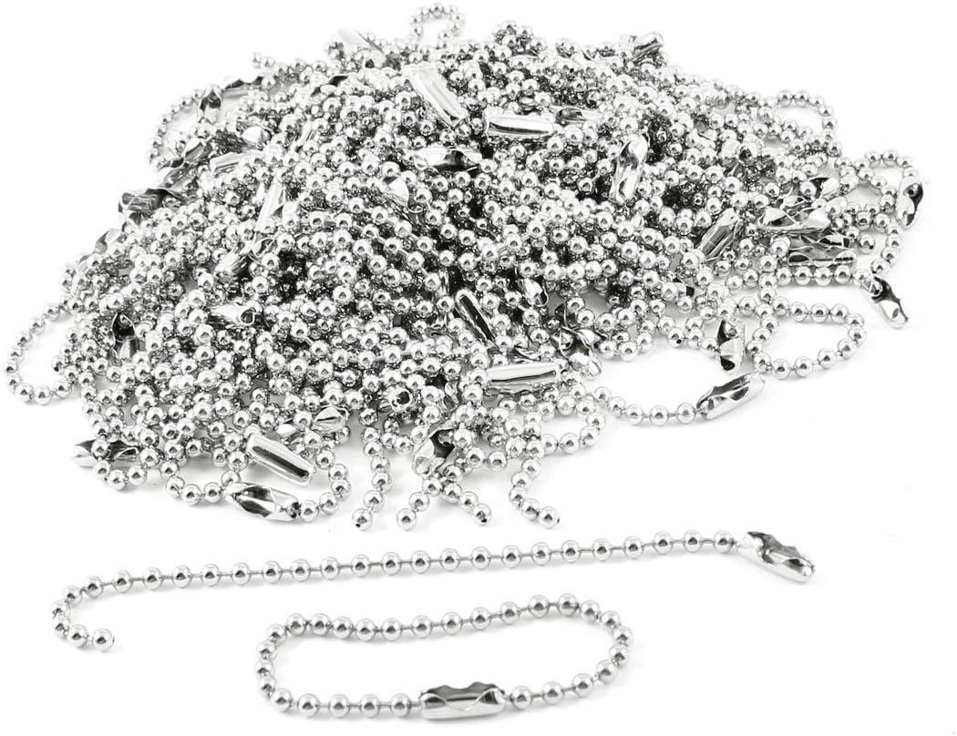 "MACHEE 100 Pcs 3.5/"" Long 0.09/"" Bead Dia Connector Clasp Ball Chain Keychain"