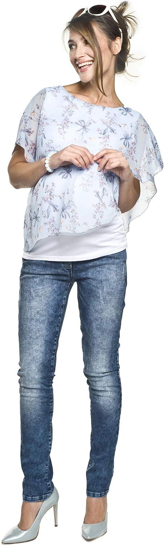 hellblau-Blumen 2in1 Umstandsshirt mit Stillfunktion Modell: Elfi-Alaja L