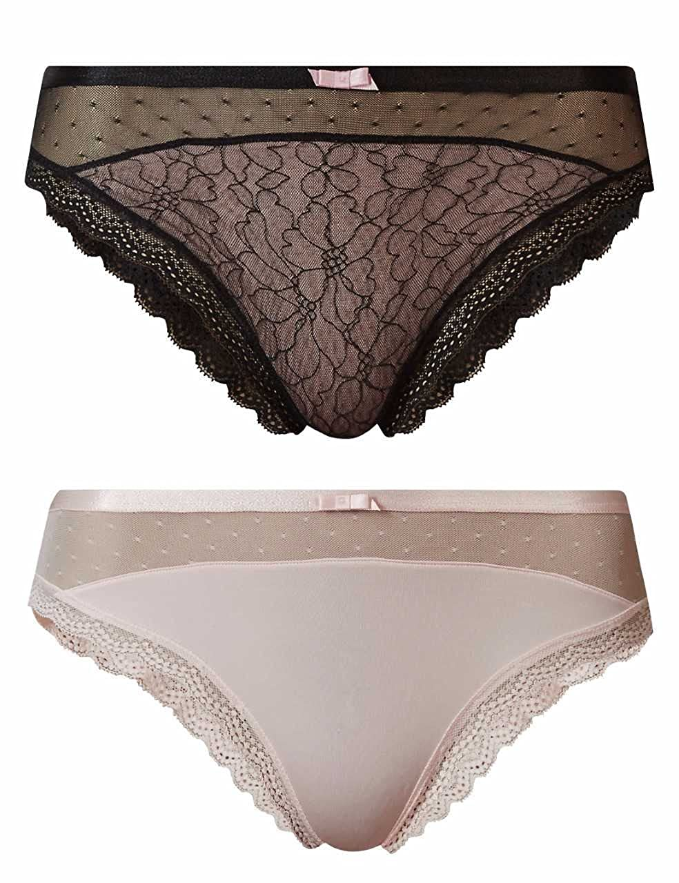 Ex Store Multipack 2 Pack Lace Full Briefs Knickers Black & Pink 6-20