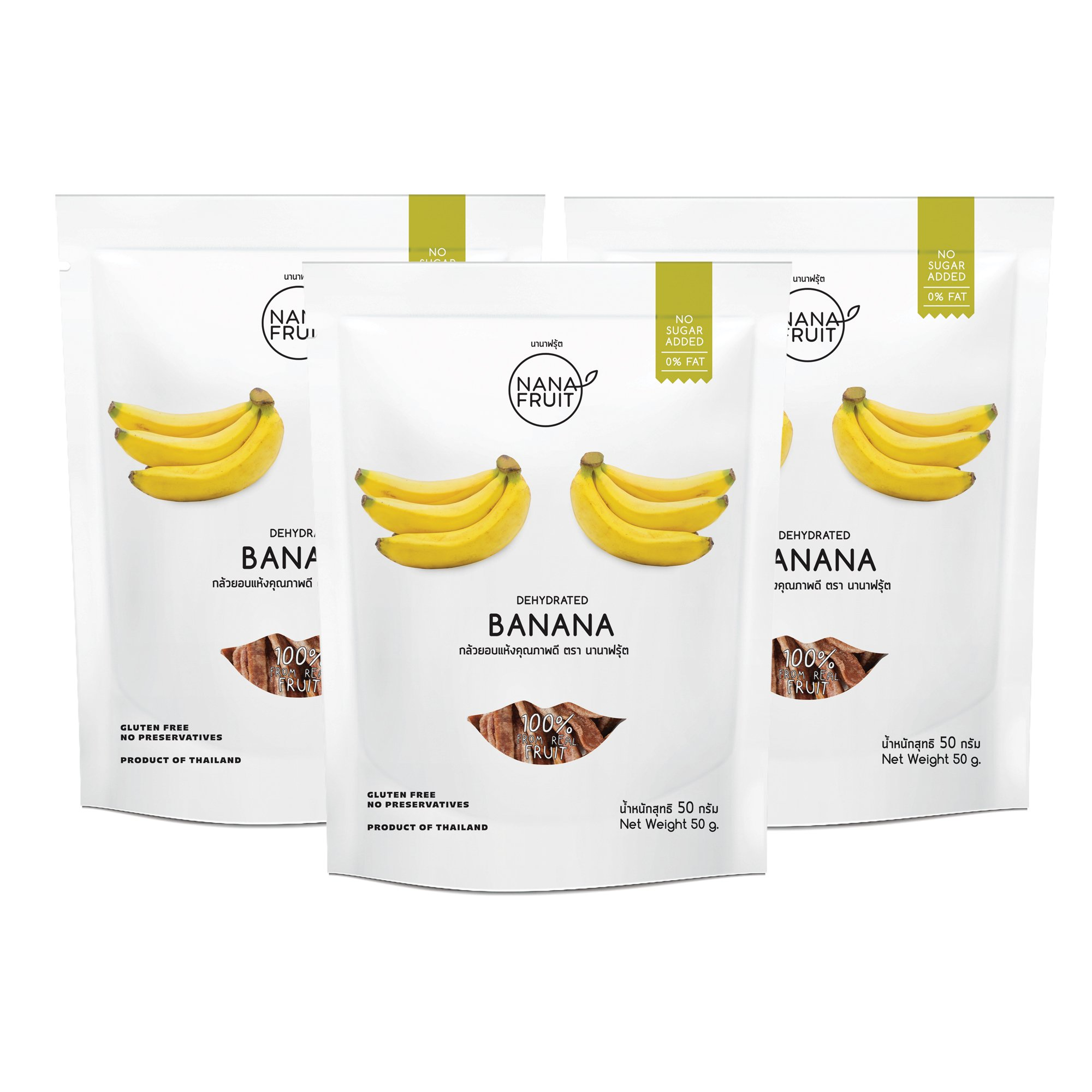 Nana Fruits Dried Banana Pack 50g. (Case of 3 Packages)