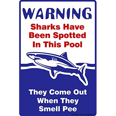 Angeloken New Tin Sign Retro Vintage Swimming Pool Sign, Sharks Have Been Spotted in This Pool, Pool Rules Metal for Home Coffee Wall Decor 8x12 Inch: Home & Kitchen