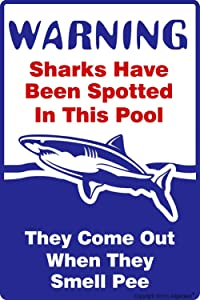 Angeloken New Tin Sign Retro Vintage Swimming Pool Sign, Sharks Have Been Spotted in This Pool, Pool Rules Metal for Home Coffee Wall Decor 8x12 Inch