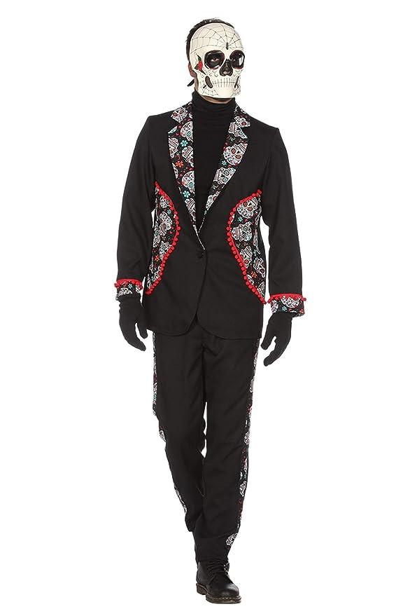Wilbers Disfraz de Día de los Muertos Negro para Hombre: Amazon.es ...