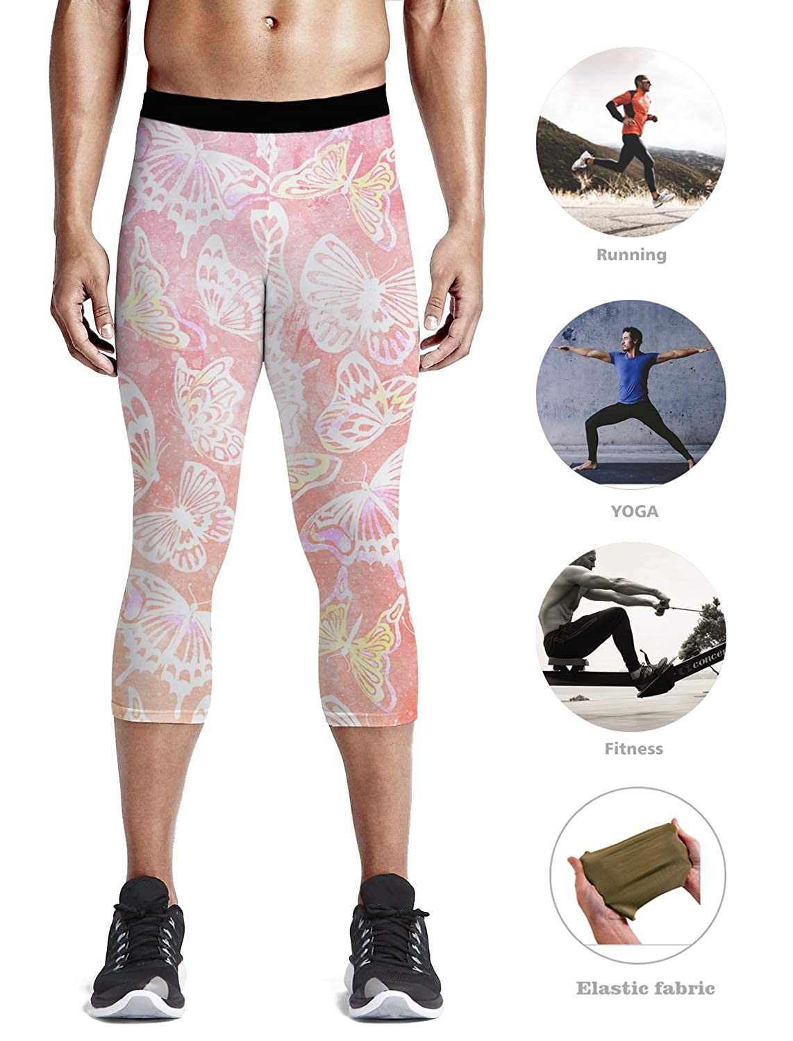 63583b43693d1 Amazon.com: Custom Men Leggings 3/4 Capri Leggings Compression Dry Cool  Tights Pants for Gym, Basketball, Cycling, Yoga, Hiking Animal Theme  Beautiful ...