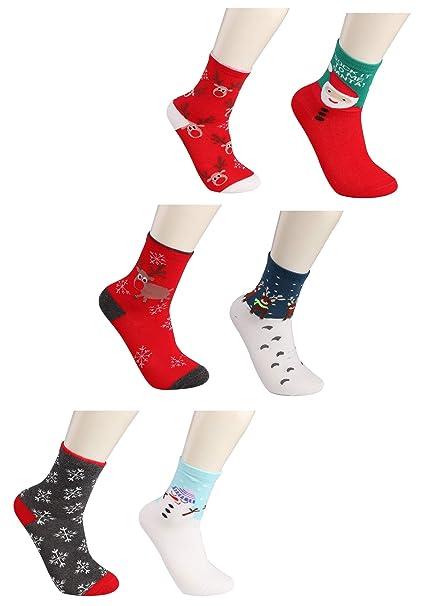 BESTEEL 6 pares Algodón Navidad Calcetines para Hombres Mujeres Niñas Niños Dibujos animados Invierno Calentar Xmas