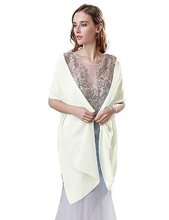 Sarahbridal Womens Elegant Chiffon Cape Brides Bridal Shrug Wrap Wedding Bolero Jacket Stole Shawl Coats S17022