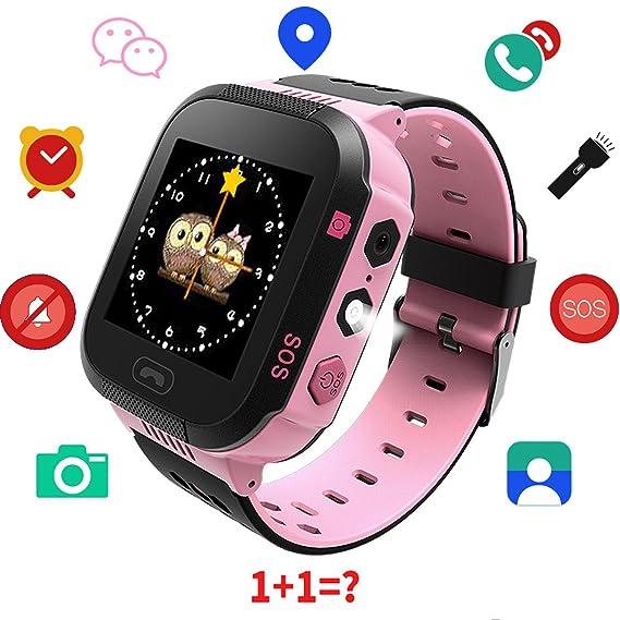 9a66ababf0f Kids Smart Watch GPS Tracker - Boys Girls Digital Watch Phone Wristband 2  Way Calling SOS