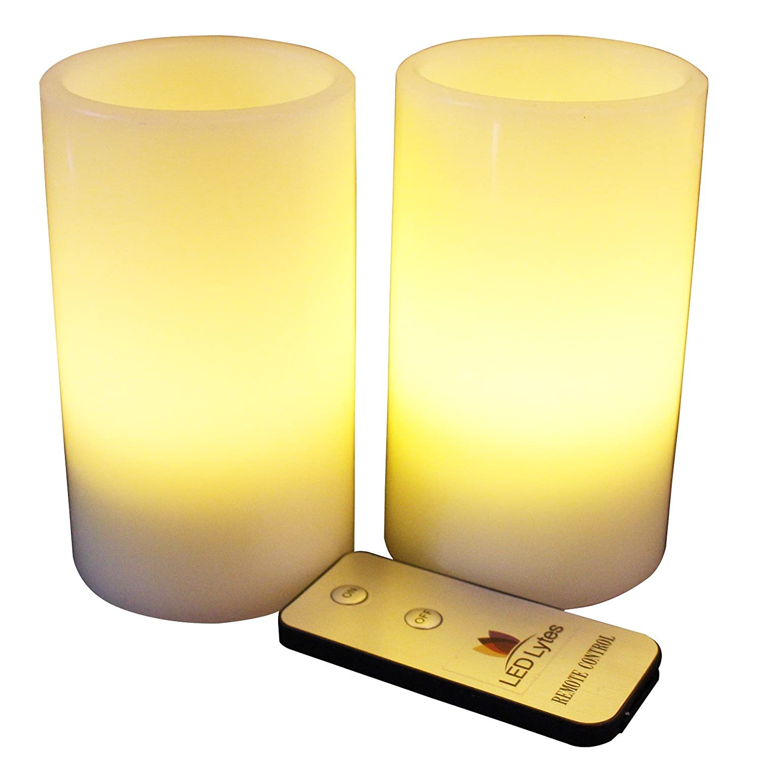 led lytes flameless candles battery operated pillars w remote set of 2 ivory wa ebay. Black Bedroom Furniture Sets. Home Design Ideas
