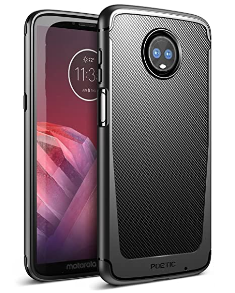 big sale c1874 bdd77 Moto Z3 Play Case, Moto Z3 Case, Poetic Karbon Shield [Shock Absorbing]  Slim Fit TPU Case with [Carbon Fiber Texture] for Motorola Moto Z3  Play/Moto ...