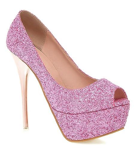 YE Damen Stiletto High Heels Peeptoe Plateau Glitzer Pailletten Pumps Party Schuhe