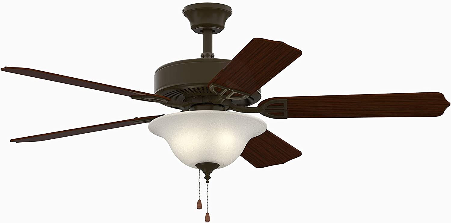 Fanimation BP225BOB1 Aire Décor Ceilling Fan with Frosted Glass Bowl Light Kit with Pull Chain, 52-Inches | 120V, Oil-Rubbed Bronze