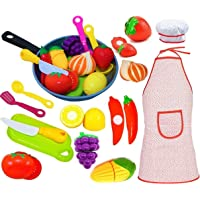 Play Kitchen Accessories Set for Kids - Cutting Toy Fruits & Vegetables - Cooking...