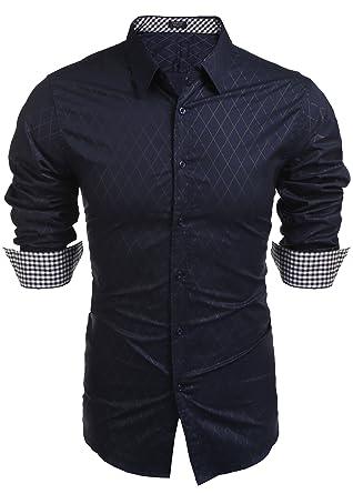 super cute 8ab63 aeadc BURLADY Herren Hemd Slim Fit Diamant-Gitter Karohemd Kariert Langarmhemd  Freizeit Business Party Shirt für Männer