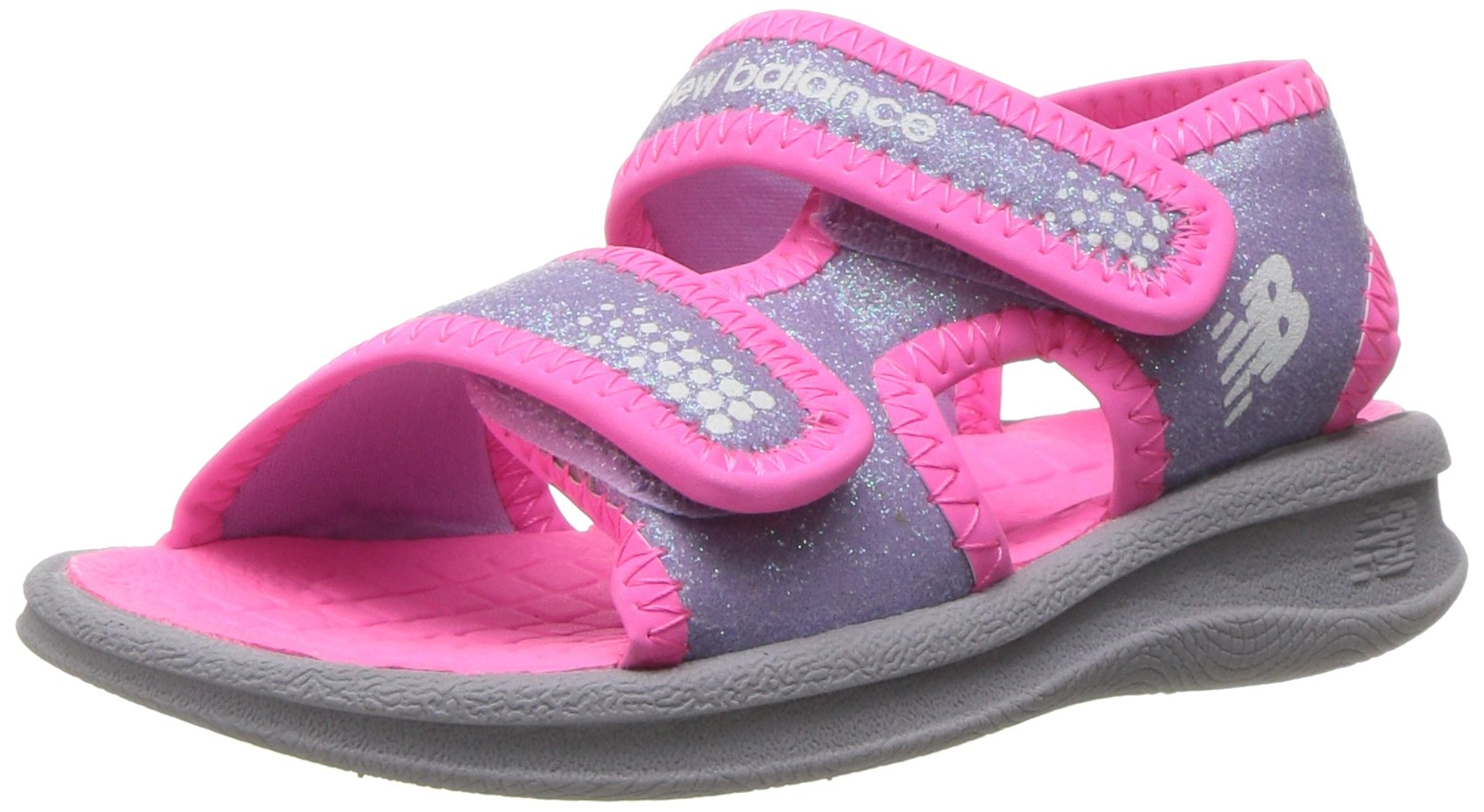 New Balance Girls' Sport Sandal Water Shoe, Grey/Pink, 2 M US Little Kid
