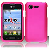 LG Optimus Fuel L34C Pink Rubberized Plastic Cover Snap On Hard Rugged Gel Case Cell Phone Shield Protector Shell from [Accessory Library]