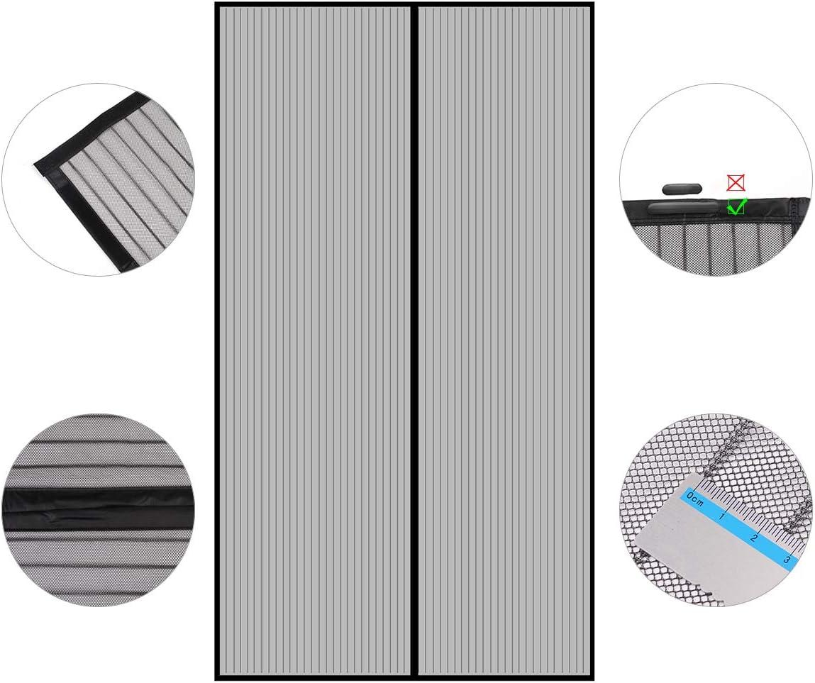 220 x 120cm, Schwarz Einfache Installation Eisen Aluminium T/üren und Balkon Sekey Magnet Fliegengitter T/ür Vorhang f/ür Holz