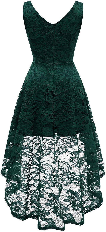 MuaDress Damen Kleid /Ärmellose Cocktailkleider Knielang Abendkleider Elegant Spitzenkleid V-Ausschnitt Asymmetrisches Brautjungfernkleid