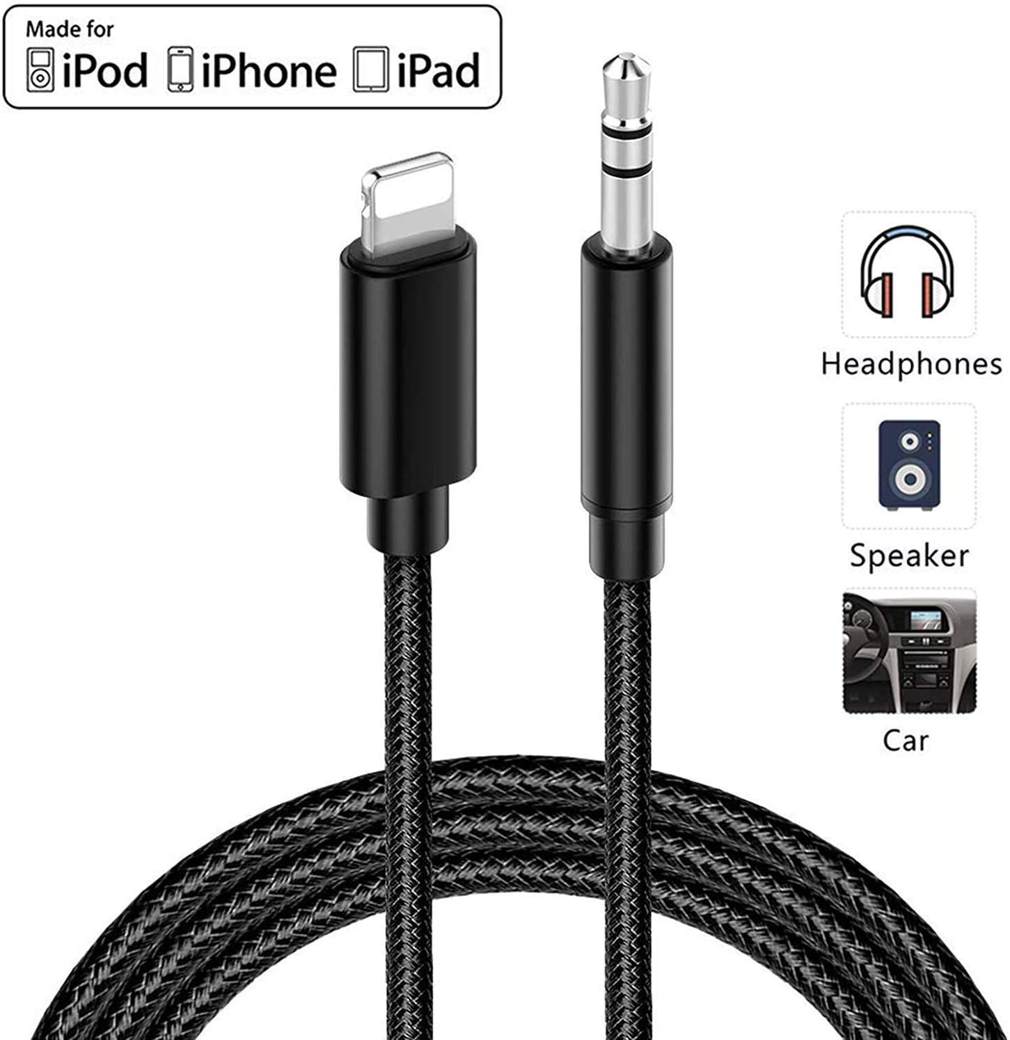 Aux Cable for iPhone 3.5mm Aux Cable Car AUX Cable to 3.5mm Aux Adapter Compatible with iPhone Xs//XS Max//X//8//8Plus//7//7Plus to Car Stereo//Speaker//Headphone Adapter Support iOS 12 or Later 3.3ft