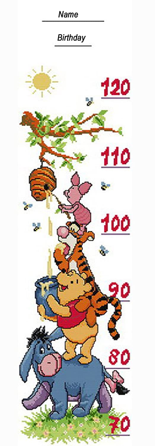 Counted Cross Stitch Kit Growth Height Chart For Baby Or Kid