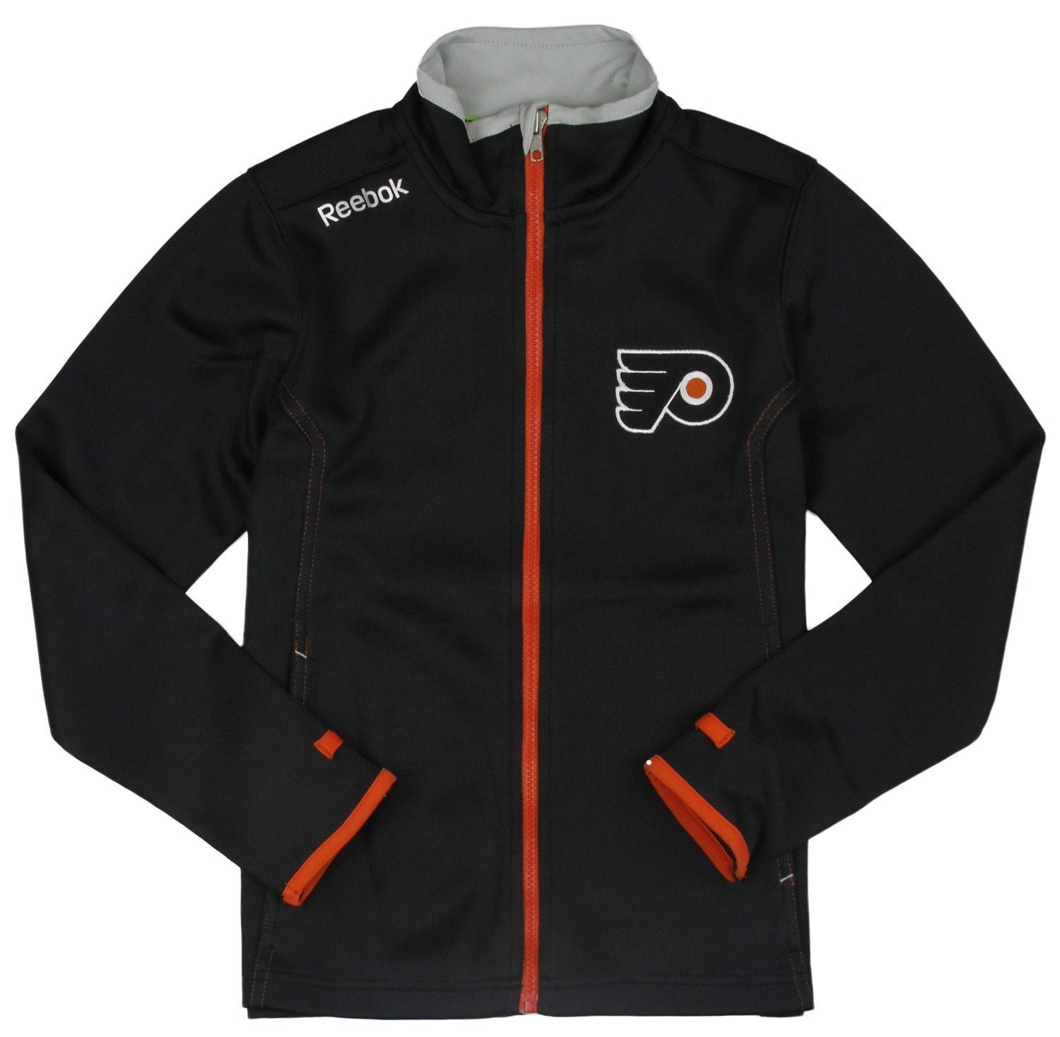 Philadelphia Flyers NHL Big Boys Full Zip Warm Up Jacket, Black Reebok