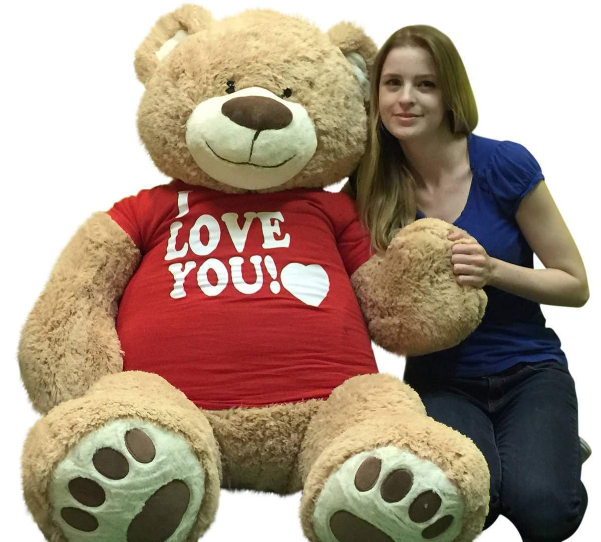amazoncom i love you giant 5 foot teddy bear soft 60 inch wears i love you t shirt weighs 16 pounds toys games