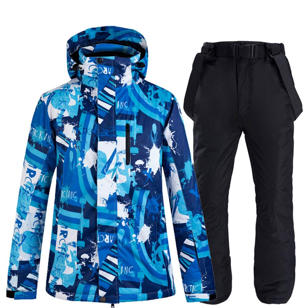 YUKIZORA メンズ用スキーウェア 上下セット 10000mm サイズM~3XL 大きいサイズ ブルー ブルー系ジャケット+黒パンツ 3L