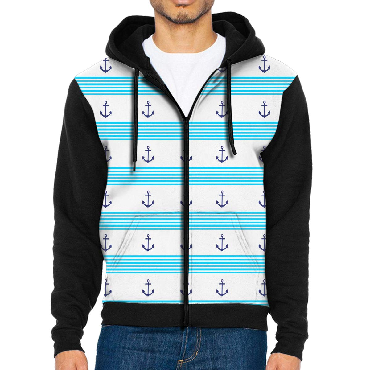 Mens Pullover Hood Windy Navy Anchor Zip Hoodies Hooded Fashion Jackets Coats